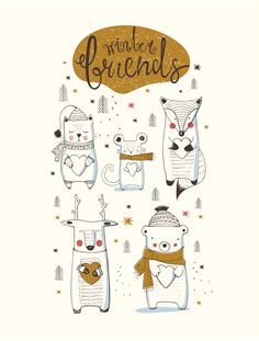 Winter animals doodle set  illustration. fashion print design