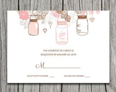 PRINTABLE: Love Birds, Flowers, Hearts, Tree Wedding RSVP - Chocolate Brown, Blush and Pink Mason Jars Wedding Response Card by PaintTheDayDesigns, $13.00