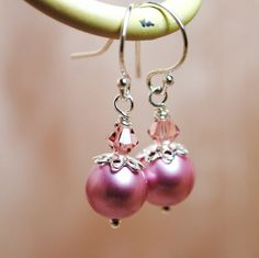 Swarovski Powder Pink Pearls Crystals Dangle