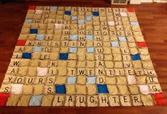 O Sew Many Rags: Scrabble Rag Quilt  What a great idea for grandparents, put g'kids names on or 25/50th anniversary...