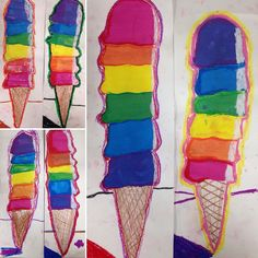 CV first graders rockin' Wayne Thiebaud inspired color wheel ice-cream cones. 12 Color Wheel, Color Wheel Lesson, Color Wheel Projects, Art Projects, Art Education Lessons, Art Lessons For Kids, Elementary Art Lesson Plans, Kindergarten Colors, 4th Grade Art