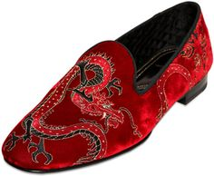 fb9a0acb3c8 Max Verre Dragon Embroidered Velvet Loafers in Red for Men
