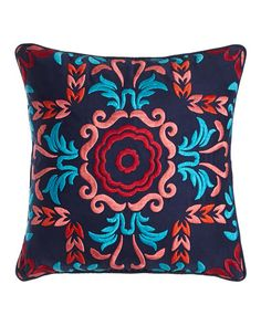 """H81ZD Blissliving HOME Embroidered Viva Mexico Pillow, 18""""Sq."""