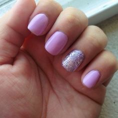 Cute Nails - Lacey, WA, United States. Lilac Gel polish with Silver Sparkles