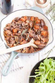 Mushroom Bourguignon - The classic beef bourguignon gets a vegetarian makeover with this delicious mushroom bourguignon recipe! A delicious and hearty winter vegan dish.