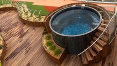 I like the wooden platform or ramp but only a semi-sunken plunge pool. Partially recessed into rocks Brisbane Plunge Pool