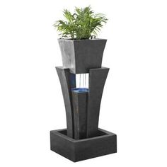 Fountain Cellar Raining Water Fountain with Planter LED Light-FCL048 at The Home Depot