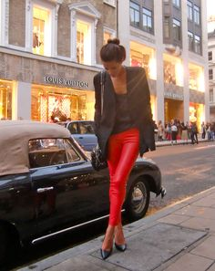 amazing red leather pants. #fashion #streetstyle #zappos