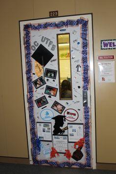 Teachers at Crockett Jr. High held a college door decorating contest.  Teachers were asked