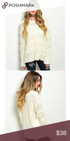 """Ivory Shaggy Sweater PRE-ORDER - Sells out fast! NOT FP / NO TRADES Description: L: 28"""" B: 42"""" W: 42"""" Free People Tops Sweatshirts & Hoodies"""