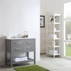 Foligno Grey 36-inch Single Vanity in Grey with Carrara White Marble Top - 19216220 - Overstock - Great Deals on Vinnova Bathroom Vanities - Mobile