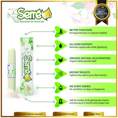 Natural Odor Control for Feminine Hygiene & Freshness for Women's Health By Serre Stick  Tightens and Revitalizes Vagina Rejuvenates vaginal muscles, tone and vigor Removes harmful bacteria in the vaginal lining Restores Post-Delivery Vaginal Elasticity.