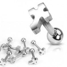 Sebészeti acél fülpiercing - sima kereszt