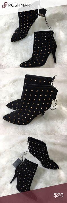 "Forever 21 faux suede black stilleto bootie heels -Manmade materials  -Gold hardware  -4"" Stiletto Heel  -Zip Forever 21 Shoes Heels"