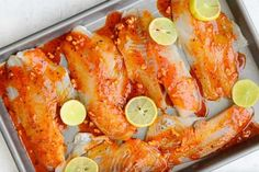 This Spicy Lemon Garlic Baked Tilapia takes all of 5 minute of preparation time before you pop it in the oven. Pair it with sautéed vegetables and steamed rice for a hearty meal. Tilapia Dinner Recipe, Baked Tilapia Recipes, Healthy Tilapia, Shrimp Recipes For Dinner, Baked Fish, Fish Recipes, Seafood Recipes, Beef Recipes, Cooking Recipes