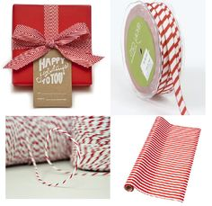 Christmas Candy Cane Stripes red and white chevron grosgrain ribbon bakers twine | Godard Girl : The Taxonomies of Design - Red White Striped Tree Decorations, homewares & Trim