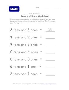 Printable counting tens and ones worksheet for kids. Children are asked to read the line that lists a number of tens and ones and then to write the correct number on the line provided. This worksheet will help kids learn to count tens and ones. Tens And Ones Worksheets, Place Value Worksheets, Free Kindergarten Worksheets, Reading Worksheets, Worksheets For Kids, Printable Worksheets, Kindergarten Counting, Comprehension Worksheets, Number Worksheets