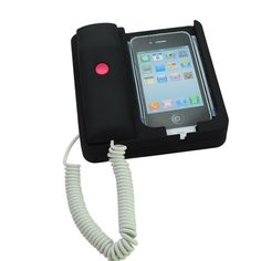 Classic Home Office Desk Telephone Retro Phone Corded Handset for iPhone 4S/4 - Black US$16.69