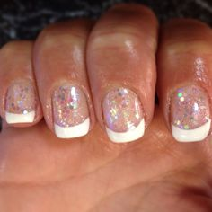 Shellac nails sparkle French manicure
