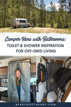 11 Camper Vans with Bathrooms: Toilet & Shower Inspiration for Off-Grid Living – Bearfoot Theory Van Conversion Interior, Camper Van Conversion Diy, Sprinter Conversion, Vintage Camper Interior, Campervan Interior, Vintage Campers Trailers, Camper Trailers, Truck Camper, Travel Trailers