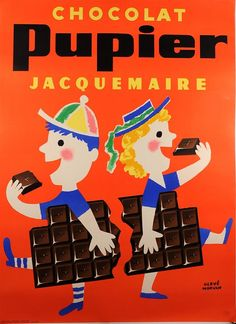 "Original Vintage French Chocolate Poster ""Chocolat Pupier"" By Hervé Morvan"