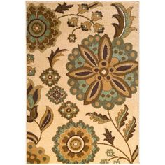 River Home Neutral and Brown Rectangular: 5 Ft. 2-Inch x 7 Ft. 6-Inch Rug - (In No Image Available)