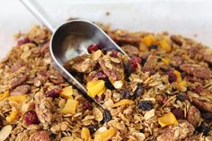 Homemade granola recipe - may give this a try today - only with coconut oil not butter...