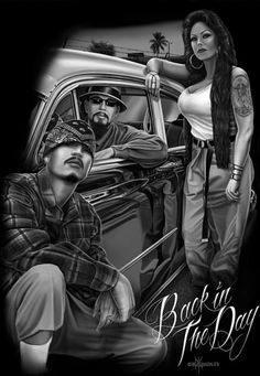 Back in The Day- D.G.A. Arte Cholo, Cholo Art, Chicano Art Tattoos, Chicano Drawings, Estilo Cholo, Arte Lowrider, Aztecas Art, Chola Girl, Chicano Love