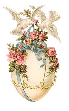 Vintage Easter egg with doves, Decoupage Printable Easter Art, Easter Crafts, Easter Eggs, Vintage Greeting Cards, Vintage Postcards, Vintage Images, Poster Vintage, Vintage Ideas, Vintage Artwork