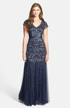 Mother of the Bride Adrianna Papell Beaded Cap Sleeve Gown available at #Nordstrom