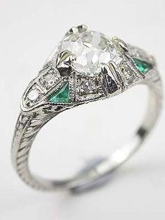 Art Deco Antique Engagement Ring  circa 1935  emerald and diamond in platinum