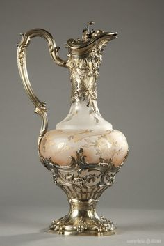 Crystal and silver mounted ewer. Late 19th century by Puiforcat.