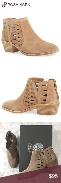 Vince Camuto Peera booties New in box!  Gorgeous tan suede booties with side cutouts.  Perfect casual booties perfect for all seasons.  Back zip closure. Fits TTS. Reasonable offers welcome. Note: 20% off 2 or more items from my closet. Vince Camuto Shoes Ankle Boots & Booties