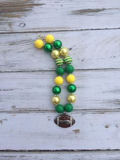Green Bay Packers Inspired Football Bubblegum Necklace - Photography Prop -  Gameday - Chunky Necklace - Stars - Green and Yellow on Etsy, $17.95
