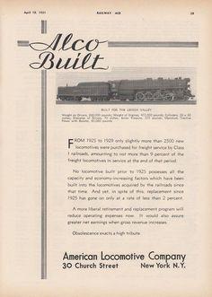 1931 Alco Ad: LV Lehigh Valley Railroad #5200 4-8-4 Type Locomotive #vintagead #magazinead #lehighvalley #ephemera #railway #americanlocomotive