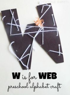 Letter W spider Web Craft Teach your child about the Letter W with this fun alphabet craft, W is for Web. Preschool Letter Crafts, Alphabet Letter Crafts, Abc Crafts, Preschool Projects, Alphabet Book, Letter Tracing, Letter Art, Craft Letters, Spanish Alphabet