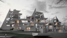 The Vertical Villa Project is a complex geometric composition of glass and concrete, planned to be built in one of the most exquisite spots of Alanya, Turkey. Residential Complex, Residential Architecture, Amazing Architecture, Contemporary Architecture, Interior Architecture, K Om, Villa, Green Mountain, Mountain Range