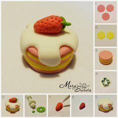 Macaron in sugarpast Polymer Clay Cake, Polymer Clay Kawaii, Fimo Clay, Polymer Clay Projects, Polymer Clay Charms, Polymer Clay Creations, Polymer Clay Jewelry, Clay Crafts, Crea Fimo