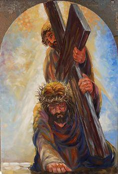 "Station 7- ""Jesus falls the second time"" by Randy Friemel Oil ~ 24 x 16"