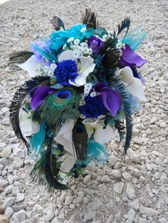 """Cascading bridal bouquet """"Anjelica""""  with teal hydrangeas, purple calla lilies and orchids, peacock feather accent"""