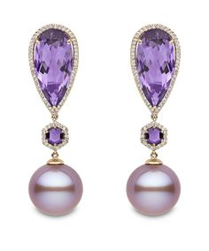 Earrings in 18k rose gold with 13–14 mm pink freshwater pearls, 16.04 cts. t.w. amethysts, and 0.57 ct. t.w. diamonds, Yoko London