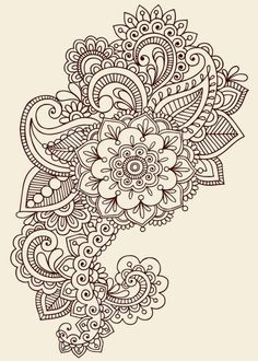 Hand Drawn Abstract Henna Mehndi Abstract Flowers And Paisley Doodle Vector Illustration Design