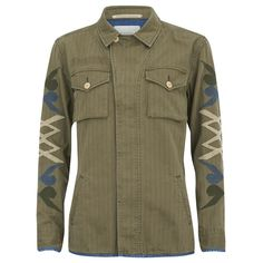 Maison Scotch Women's Army Inspired Shirt Jacket with Denim Detailing... (310 CAD) ❤ liked on Polyvore featuring outerwear, jackets, green, vintage denim jacket, army shirt jacket, denim jacket, green jacket and vintage jacket