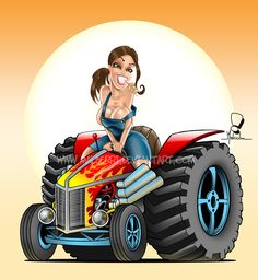 Hot Rod Pin Up Art | Hot Rod Tractor Pinup by malberri