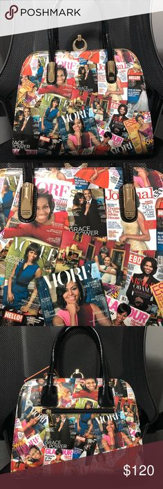 """Michelle Obama Magazine Covers Patent Purse Super pretty! Patent magazine covers satchel purse with good & bling stone details. 15""""wide 10""""tall(not including strap height) 5.5"""" depth. Bags Satchels"""