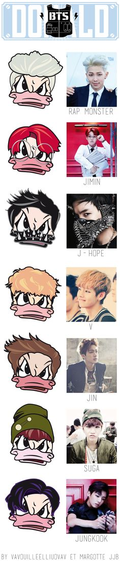 KPOP ^^ Angry Donald with BTS influence. Rap Monster, Jimin, J-Hope, V, Jin, Suga and Jungkook. By Vavouilleelliuovav & Margotte JJB.