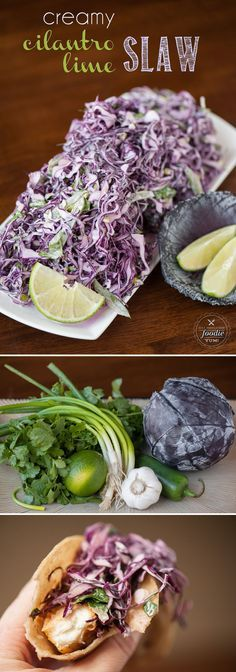 This Creamy Cilantro Lime Slaw combines fresh salad ingredients & a tangy dressing to make an outstanding side dish or your favorite fish taco topper.