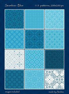 115 Seamless Blue Patterns