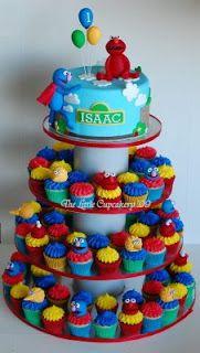 Baby Boy First Birthday Themes sesame street   The Little Cupcakery: Sesame Street Birthday Cupcake Tower