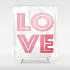 Love Shower Curtain - Pink and White Shower Curtain - Bathroom Decor - Made to Order (136.00 USD) by ShelleysCrochetOle